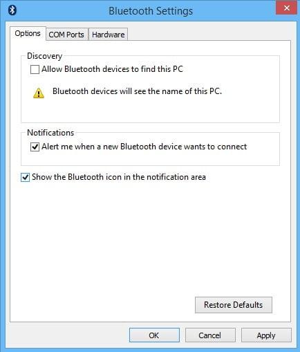 hidden bluetooth settings